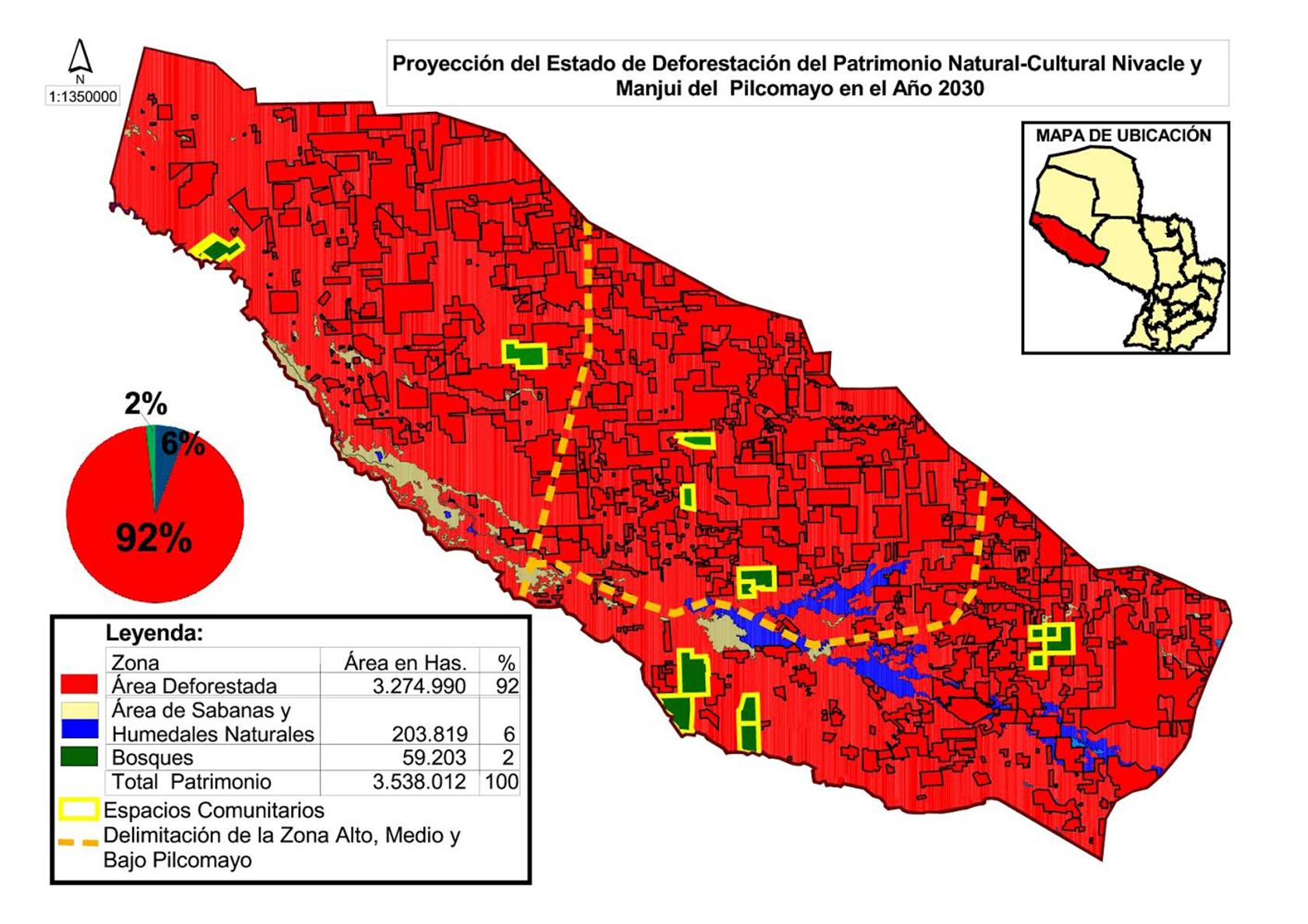 Mapa deforestacion ano 2030